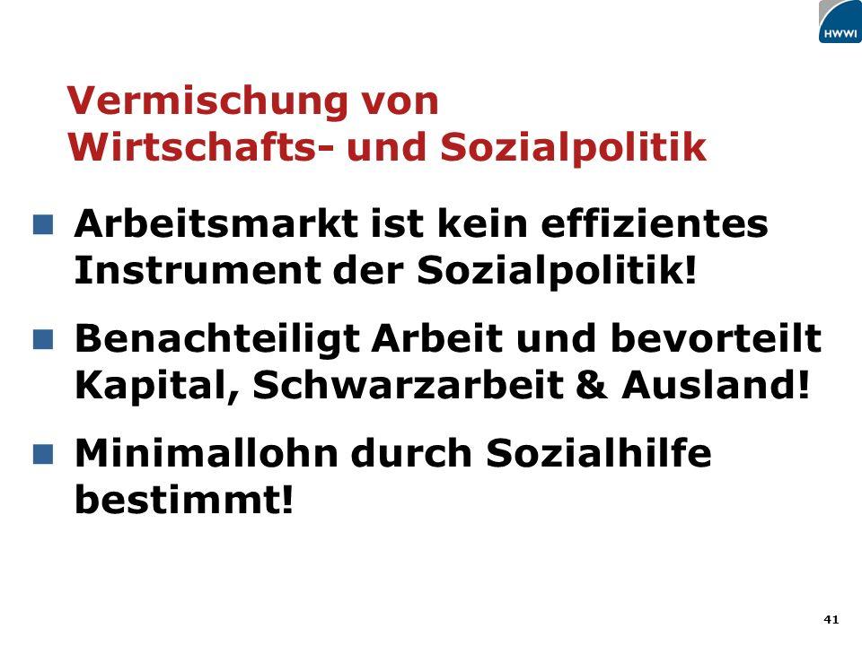 41 Arbeitsmarkt ist kein effizientes Instrument der Sozialpolitik.