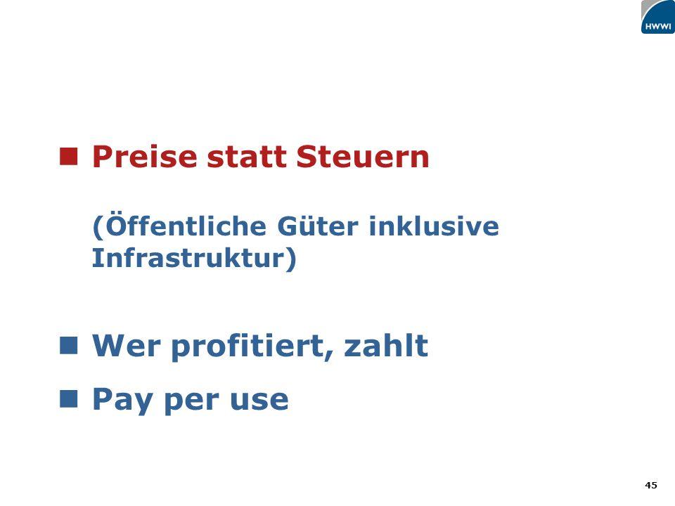 45 Preise statt Steuern (Öffentliche Güter inklusive Infrastruktur) Wer profitiert, zahlt Pay per use