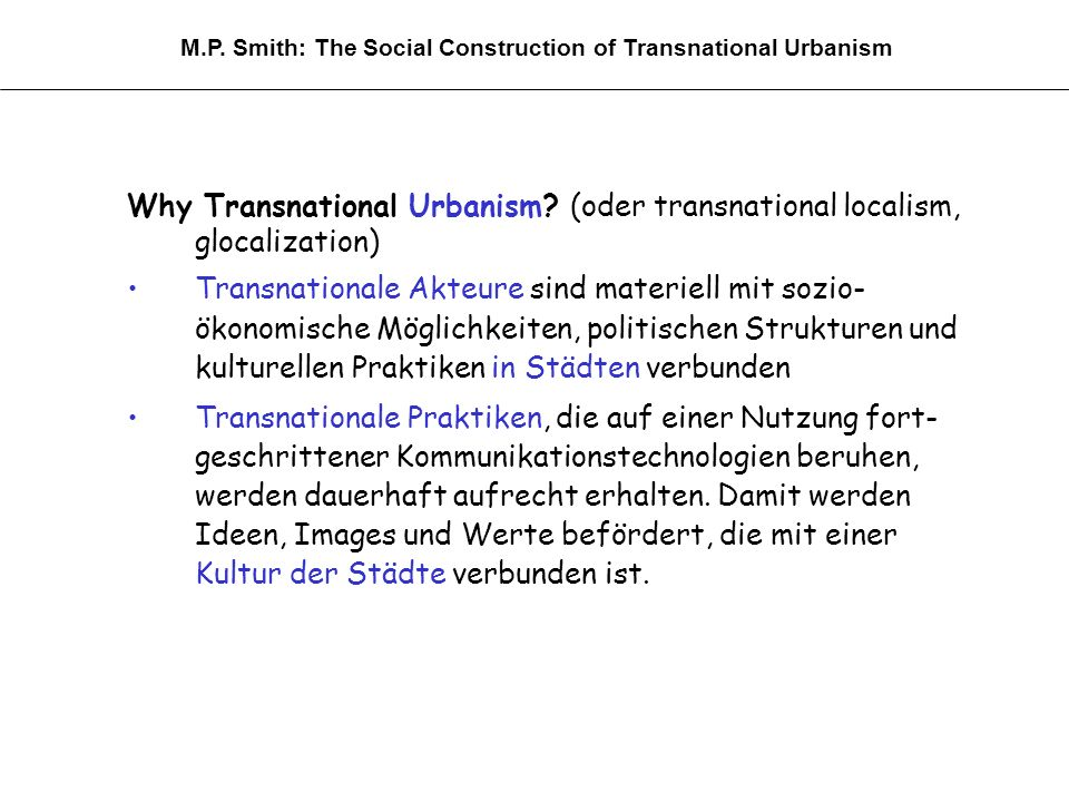 Why Transnational Urbanism.