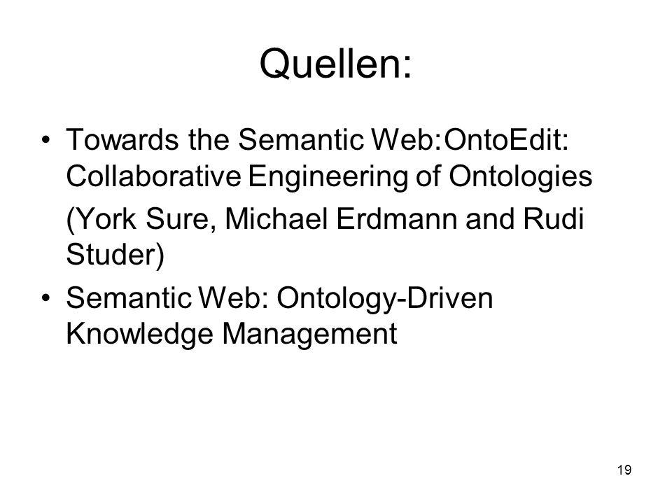 19 Quellen: Towards the Semantic Web:OntoEdit: Collaborative Engineering of Ontologies (York Sure, Michael Erdmann and Rudi Studer) Semantic Web: Ontology-Driven Knowledge Management