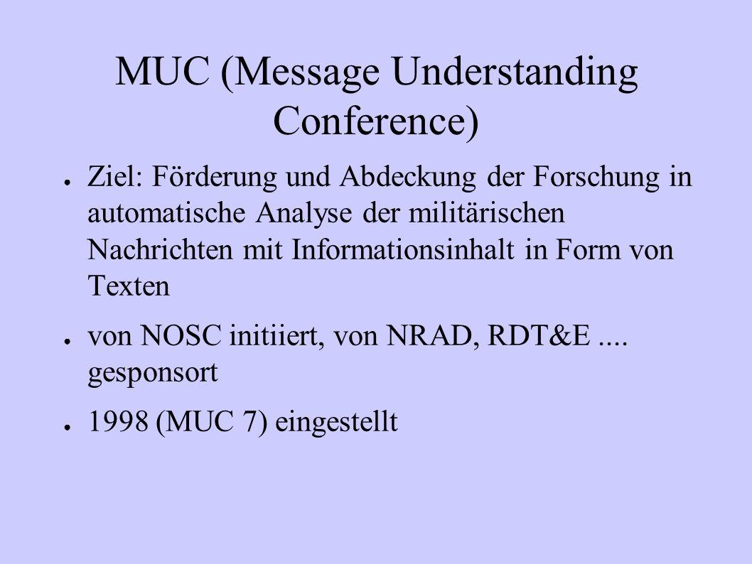 MUC (Message Understanding Conference) Ziel: Förderung und Abdeckung der Forschung in automatische Analyse der militärischen Nachrichten mit Informati
