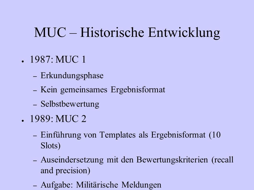 MUC – Historische Entwicklung 1987: MUC 1 – Erkundungsphase – Kein gemeinsames Ergebnisformat – Selbstbewertung 1989: MUC 2 – Einführung von Templates