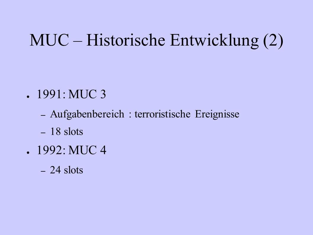 MUC – Historische Entwicklung (2) 1991: MUC 3 – Aufgabenbereich : terroristische Ereignisse – 18 slots 1992: MUC 4 – 24 slots