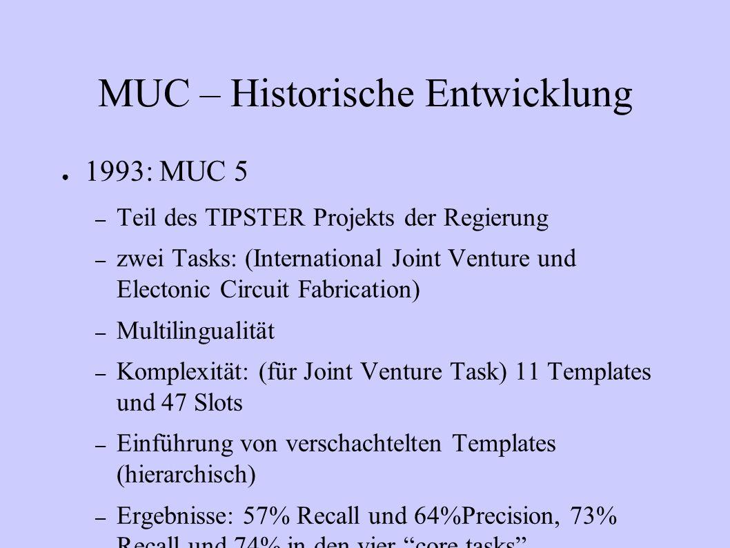 MUC – Historische Entwicklung 1993: MUC 5 – Teil des TIPSTER Projekts der Regierung – zwei Tasks: (International Joint Venture und Electonic Circuit F