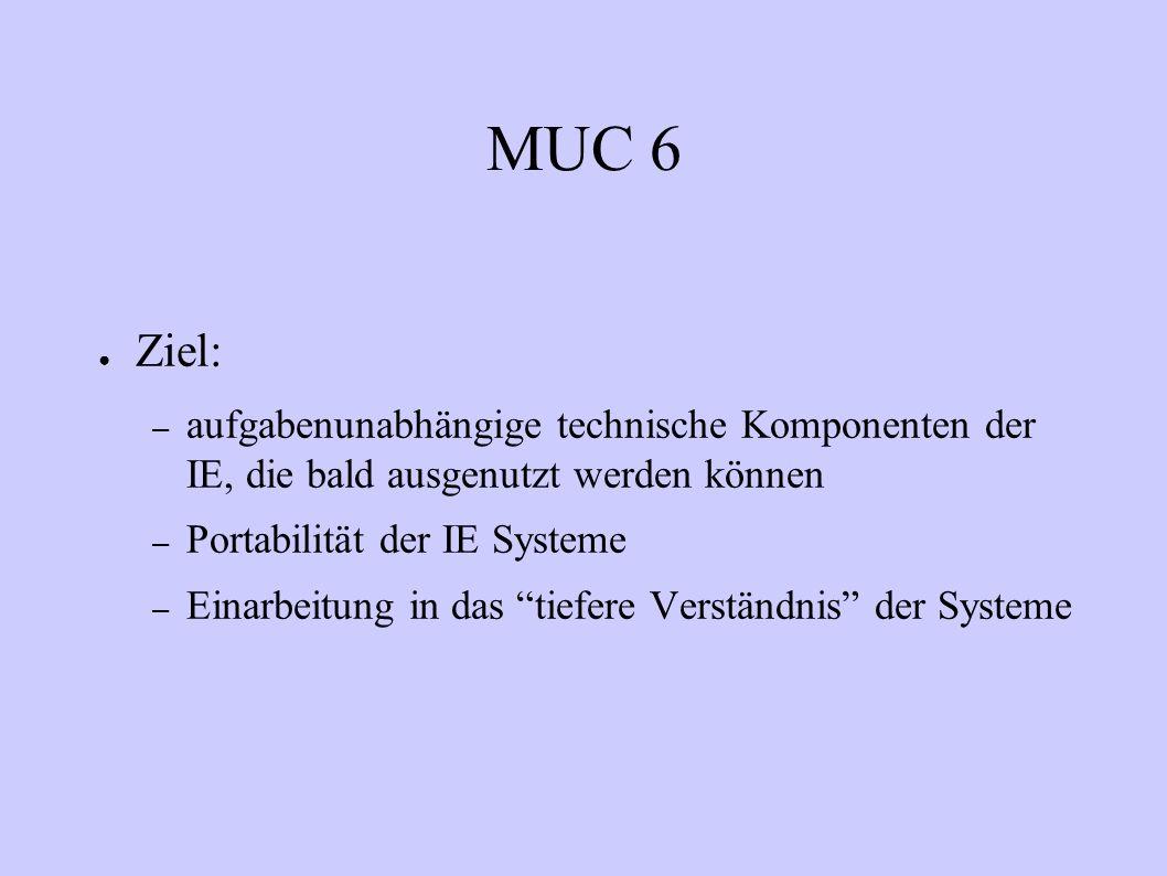 MUC 6 Ziel: – aufgabenunabhängige technische Komponenten der IE, die bald ausgenutzt werden können – Portabilität der IE Systeme – Einarbeitung in das