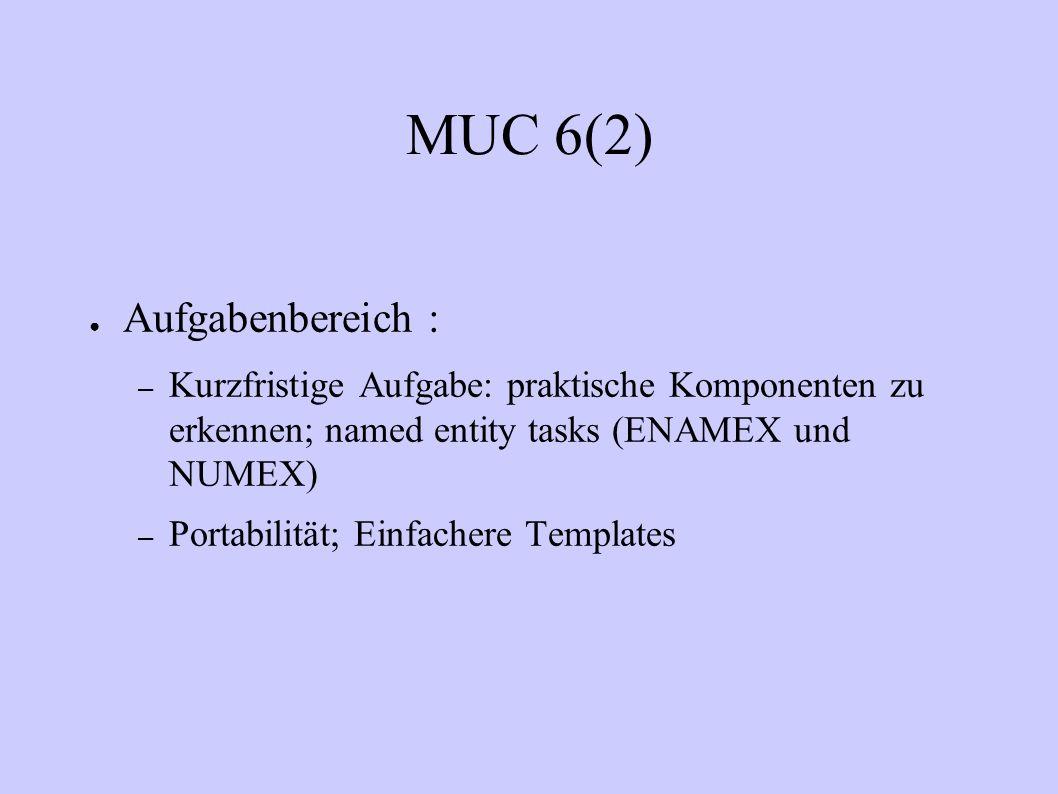 MUC 6(2) Aufgabenbereich : – Kurzfristige Aufgabe: praktische Komponenten zu erkennen; named entity tasks (ENAMEX und NUMEX) – Portabilität; Einfacher