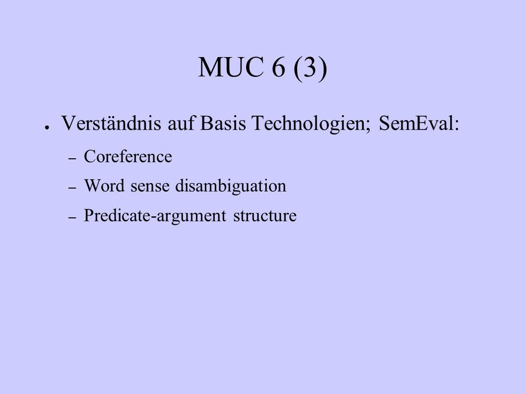 MUC 6 (3) Verständnis auf Basis Technologien; SemEval: – Coreference – Word sense disambiguation – Predicate-argument structure