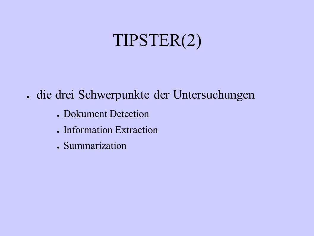 Phase 1 des TIPSTER Algorithmenentwicklung für Dokumenten- detektion und Informationsekstraktion Entwicklung von Bewertungs- bzw.