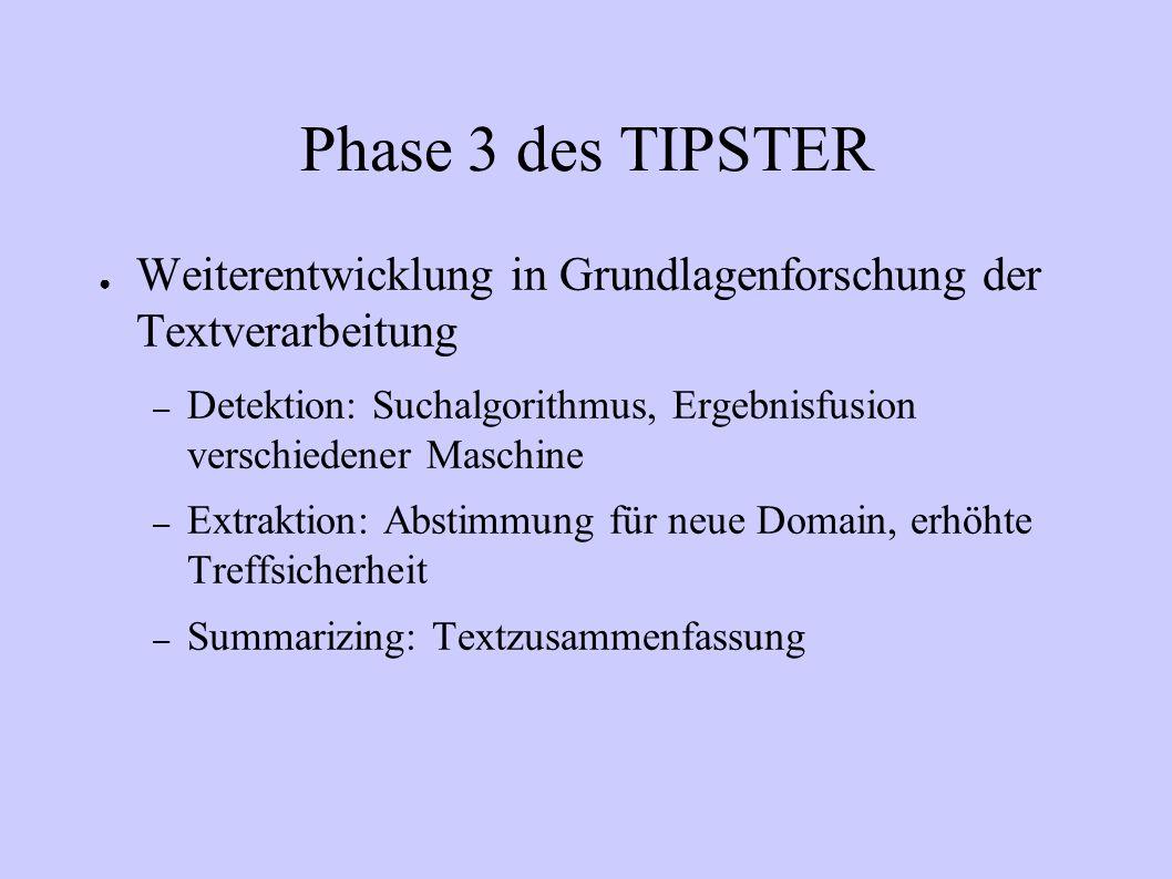 Phase3 des TIPSTER(2) Mehrsprachigkeit: Portabilität von Werkzeugen und Techniken in eine andere Sprache Technische Schnittstelle: gemeinsame Informationsnutzung von Dokumentenfindung und Extraktion