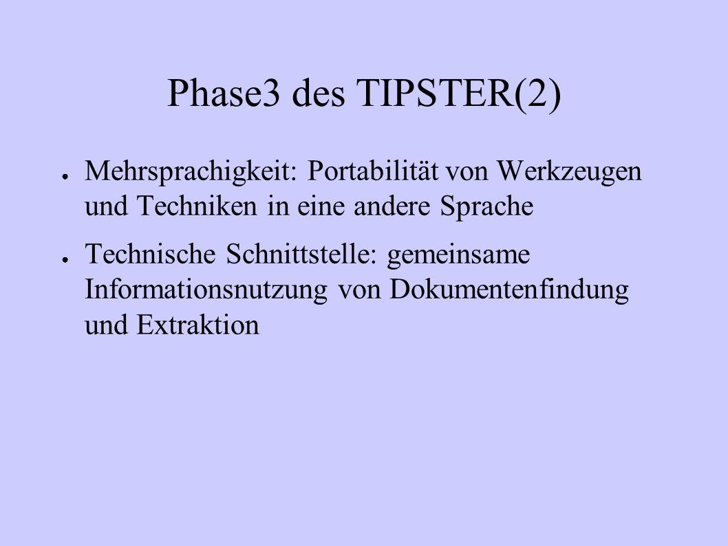 Phase3 des TIPSTER(2) Mehrsprachigkeit: Portabilität von Werkzeugen und Techniken in eine andere Sprache Technische Schnittstelle: gemeinsame Informat