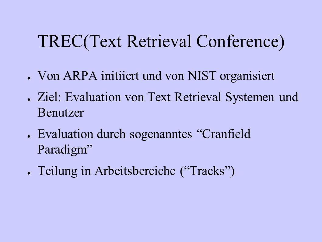 TREC(Text Retrieval Conference) Von ARPA initiiert und von NIST organisiert Ziel: Evaluation von Text Retrieval Systemen und Benutzer Evaluation durch