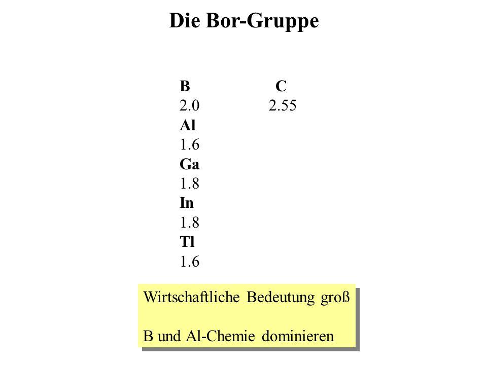 Die Bor-Gruppe B C 2.0 2.55 Al 1.6 Ga 1.8 In 1.8 Tl 1.6 Wirtschaftliche Bedeutung groß B und Al-Chemie dominieren Wirtschaftliche Bedeutung groß B und