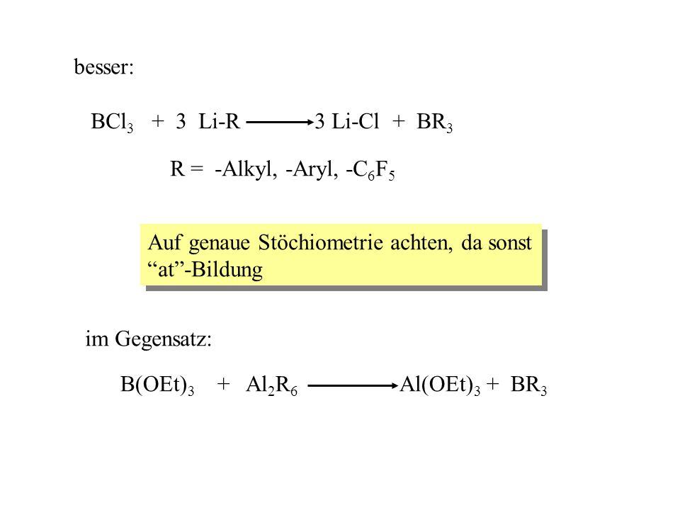 besser: BCl 3 + 3 Li-R 3 Li-Cl + BR 3 R = -Alkyl, -Aryl, -C 6 F 5 Auf genaue Stöchiometrie achten, da sonst at-Bildung Auf genaue Stöchiometrie achten