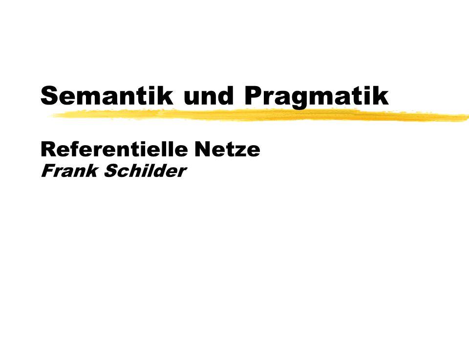 Sommersemester, 1999 © Frank Schilder Semantik und Pragmatik Referentielle Netze Frank Schilder