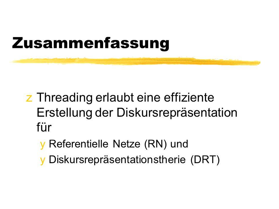 Zusammenfassung zThreading erlaubt eine effiziente Erstellung der Diskursrepräsentation für yReferentielle Netze (RN) und yDiskursrepräsentationstherie (DRT)
