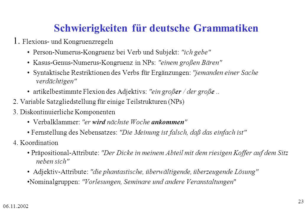 06.11.2002 23 Schwierigkeiten für deutsche Grammatiken 1.