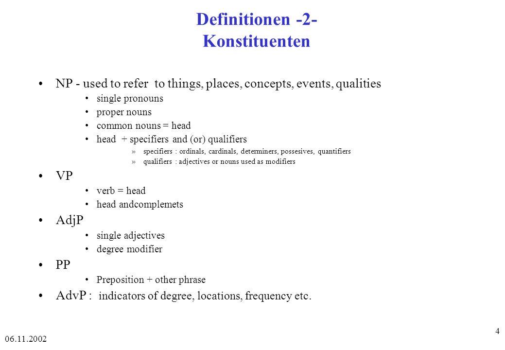 06.11.2002 75 Chart-Parsing - Beispiel - 3 - Schritt: 8 Eintrag: 2 NP2 2 Noun (aus Schritt 4) Neue offene Kante: 2 NP2 Noun 3 (nicht in der Graphik) Komplette Kanten: 1 Det 2,...