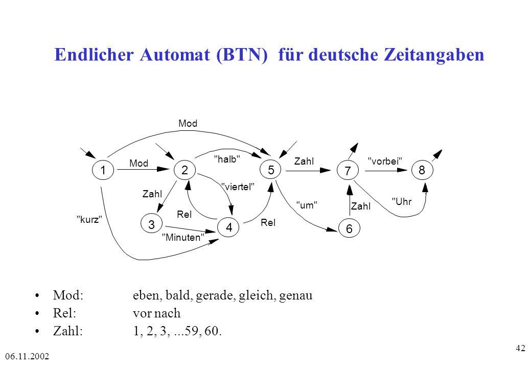 06.11.2002 42 Endlicher Automat (BTN) für deutsche Zeitangaben Mod: eben, bald, gerade, gleich, genau Rel:vor nach Zahl:1, 2, 3,...59, 60.