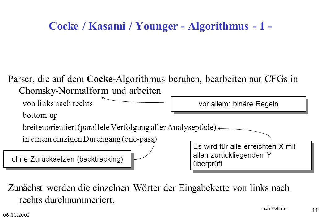 06.11.2002 44 Cocke / Kasami / Younger - Algorithmus - 1 - Parser, die auf dem Cocke-Algorithmus beruhen, bearbeiten nur CFGs in Chomsky-Normalform und arbeiten von links nach rechts bottom-up breitenorientiert (parallele Verfolgung aller Analysepfade) in einem einzigen Durchgang (one-pass) Zunächst werden die einzelnen Wörter der Eingabekette von links nach rechts durchnummeriert.