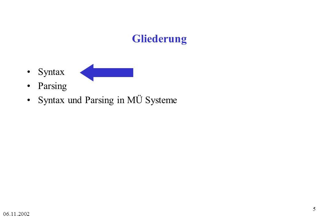 06.11.2002 76 Chart-Parsing - Beispiel - 4 - Schritt: 9 Eintrag: 2 NP2 2 Adj NP2 (aus Schritt 4) Neue offene Kante: keine, da der remainder weder ein Nonterminal ist, noch mit der Eingabe matcht.