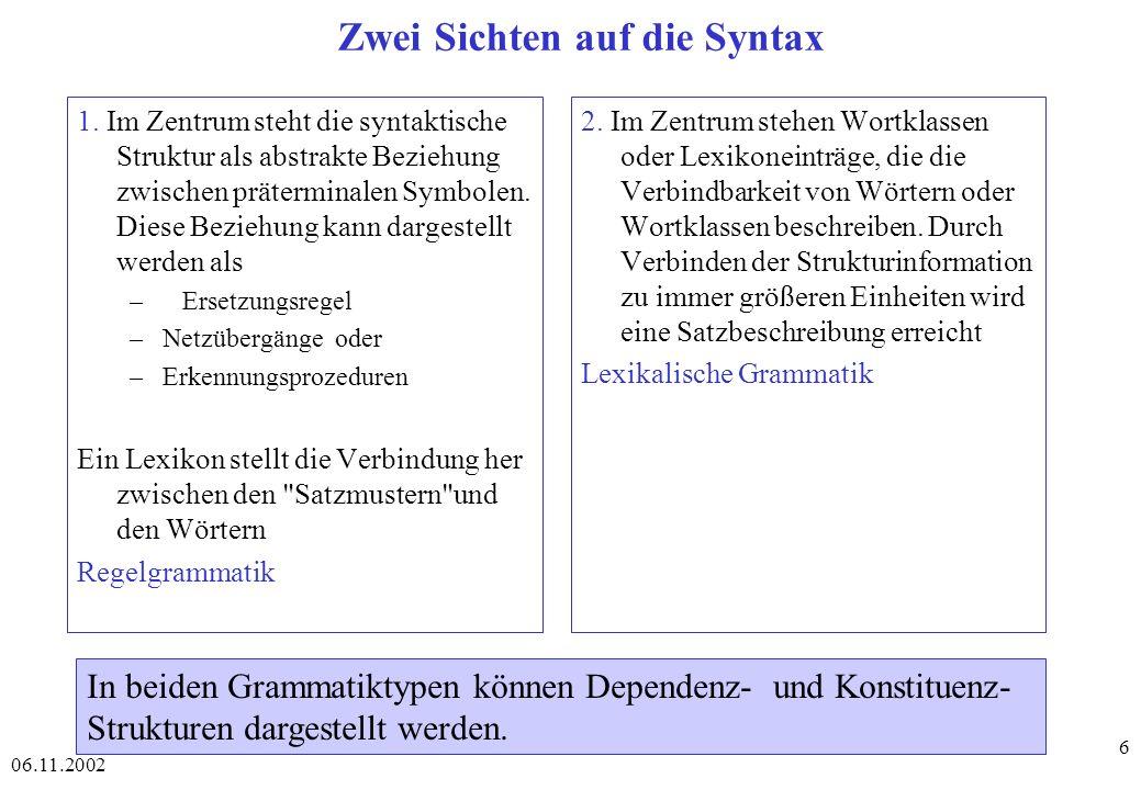 06.11.2002 6 Zwei Sichten auf die Syntax 1.