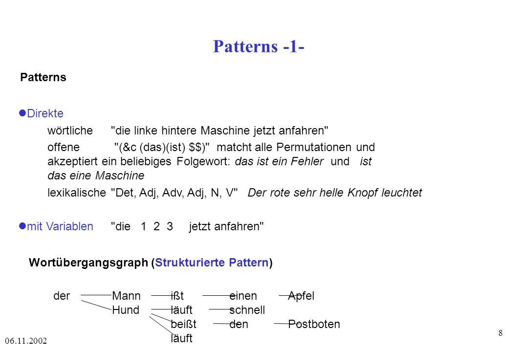 06.11.2002 8 Patterns -1- Patterns Wortübergangsgraph (Strukturierte Pattern) derMannißteinen Apfel Hundläuftschnell beißtdenPostboten läuft Direkte wörtliche die linke hintere Maschine jetzt anfahren offene (&c (das)(ist) $$) matcht alle Permutationen und akzeptiert ein beliebiges Folgewort: das ist ein Fehler und ist das eine Maschine lexikalische Det, Adj, Adv, Adj, N, V Der rote sehr helle Knopf leuchtet mit Variablen die 1 2 3 jetzt anfahren