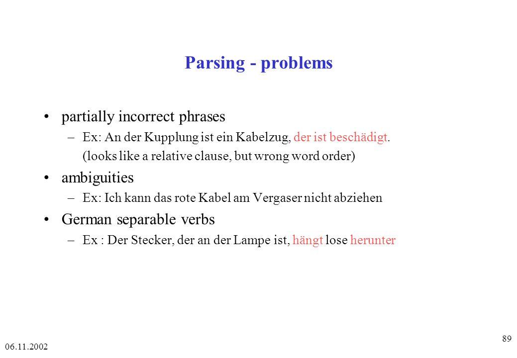 06.11.2002 89 Parsing - problems partially incorrect phrases –Ex: An der Kupplung ist ein Kabelzug, der ist beschädigt.