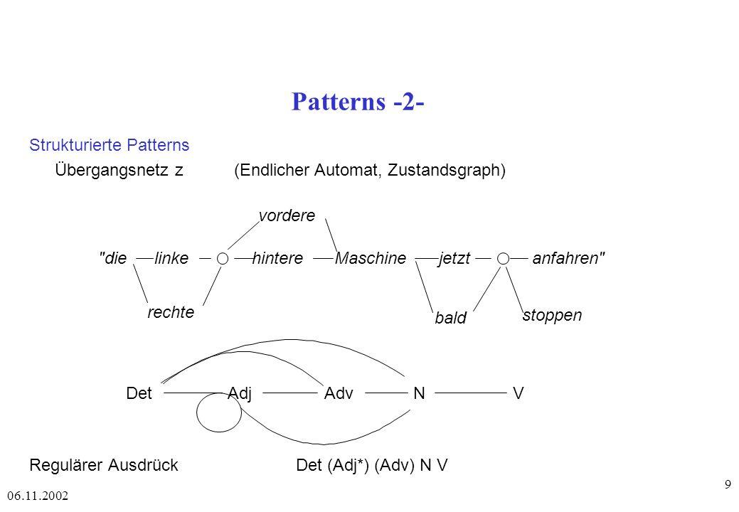06.11.2002 20 Eigenschaften unifikationsbasierter Grammatiken oberflächenorientiert d.h.