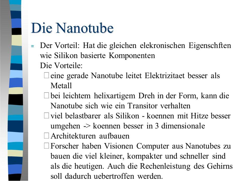 Die Nanotube = Der Vorteil: Hat die gleichen elekronischen Eigenschften wie Silikon basierte Komponenten Die Vorteile: – eine gerade Nanotube leitet Elektrizitaet besser als Metall – bei leichtem helixartigem Dreh in der Form, kann die Nanotube sich wie ein Transitor verhalten – viel belastbarer als Silikon - koennen mit Hitze besser umgehen -> koennen besser in 3 dimensionale – Architekturen aufbauen – Forscher haben Visionen Computer aus Nanotubes zu bauen die viel kleiner, kompakter und schneller sind als die heutigen.
