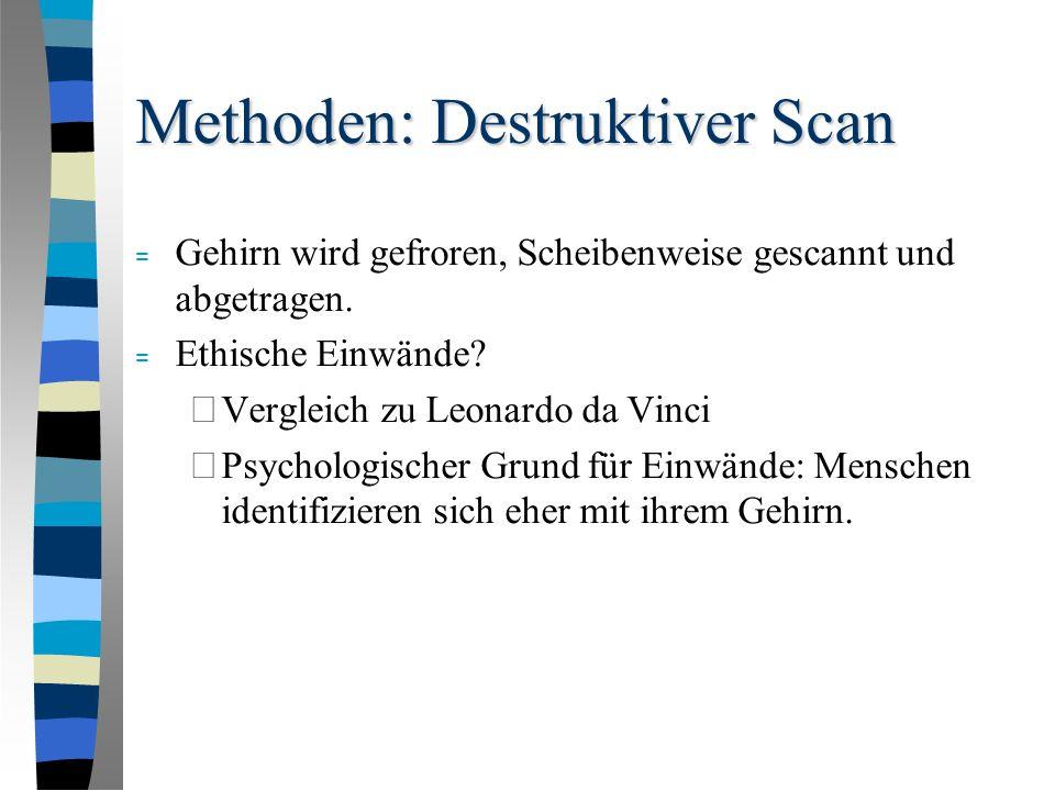 Methoden: Destruktiver Scan = Gehirn wird gefroren, Scheibenweise gescannt und abgetragen.