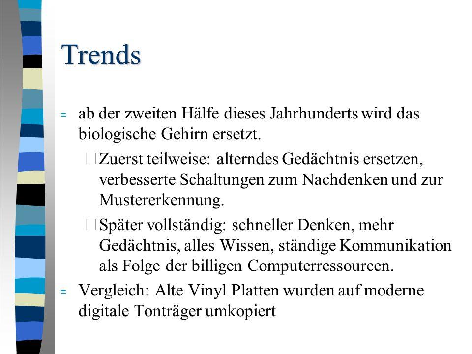 Trends = ab der zweiten Hälfe dieses Jahrhunderts wird das biologische Gehirn ersetzt.