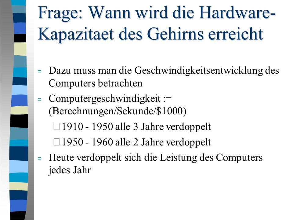 Frage: Wann wird die Hardware- Kapazitaet des Gehirns erreicht = Dazu muss man die Geschwindigkeitsentwicklung des Computers betrachten = Computergeschwindigkeit := (Berechnungen/Sekunde/$1000) – 1910 - 1950 alle 3 Jahre verdoppelt – 1950 - 1960 alle 2 Jahre verdoppelt = Heute verdoppelt sich die Leistung des Computers jedes Jahr