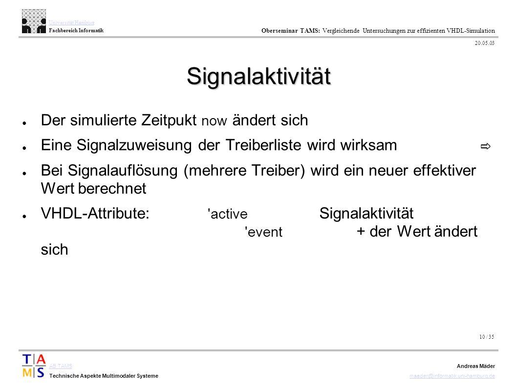10 / 35 AB TAMS Technische Aspekte Multimodaler Systeme Universität Hamburg Fachbereich Informatik Oberseminar TAMS: Vergleichende Untersuchungen zur