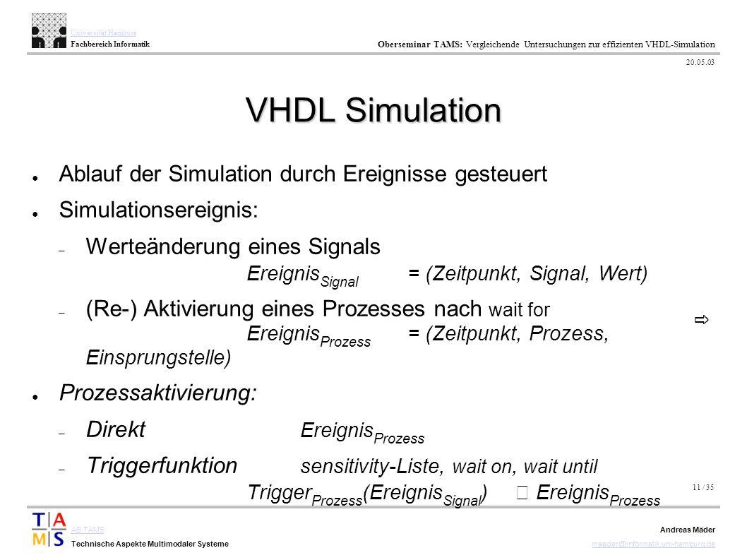 11 / 35 AB TAMS Technische Aspekte Multimodaler Systeme Universität Hamburg Fachbereich Informatik Oberseminar TAMS: Vergleichende Untersuchungen zur