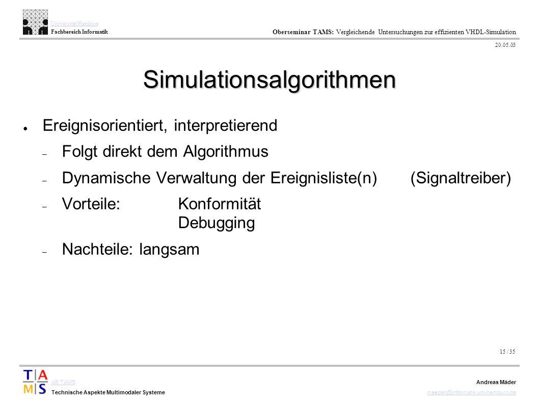 15 / 35 AB TAMS Technische Aspekte Multimodaler Systeme Universität Hamburg Fachbereich Informatik Oberseminar TAMS: Vergleichende Untersuchungen zur