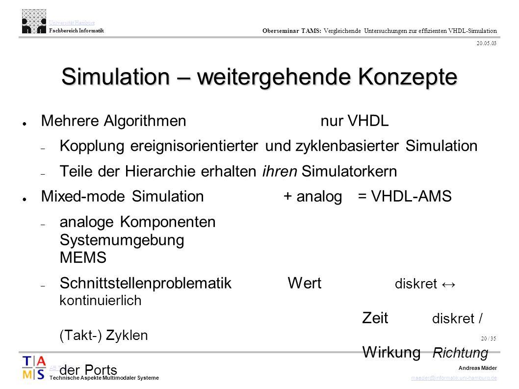 20 / 35 AB TAMS Technische Aspekte Multimodaler Systeme Universität Hamburg Fachbereich Informatik Oberseminar TAMS: Vergleichende Untersuchungen zur