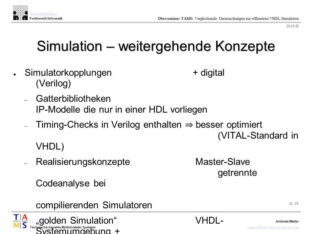 21 / 35 AB TAMS Technische Aspekte Multimodaler Systeme Universität Hamburg Fachbereich Informatik Oberseminar TAMS: Vergleichende Untersuchungen zur