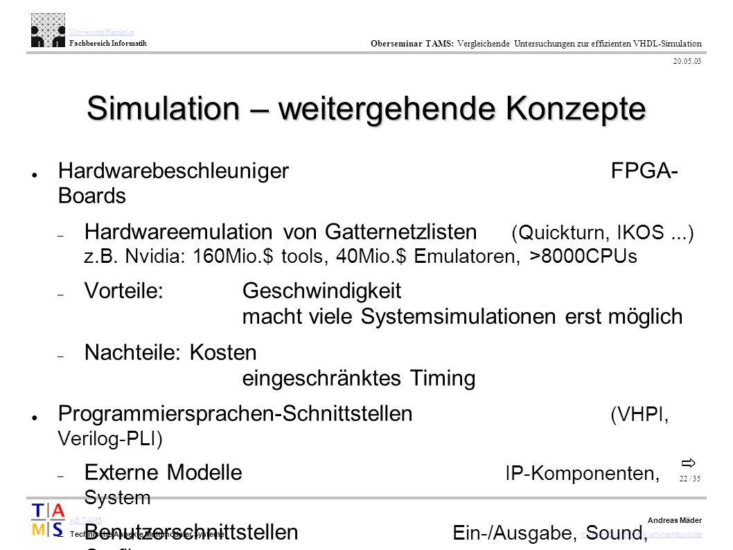 22 / 35 AB TAMS Technische Aspekte Multimodaler Systeme Universität Hamburg Fachbereich Informatik Oberseminar TAMS: Vergleichende Untersuchungen zur