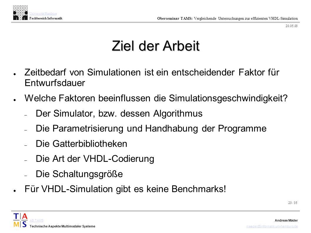23 / 35 AB TAMS Technische Aspekte Multimodaler Systeme Universität Hamburg Fachbereich Informatik Oberseminar TAMS: Vergleichende Untersuchungen zur