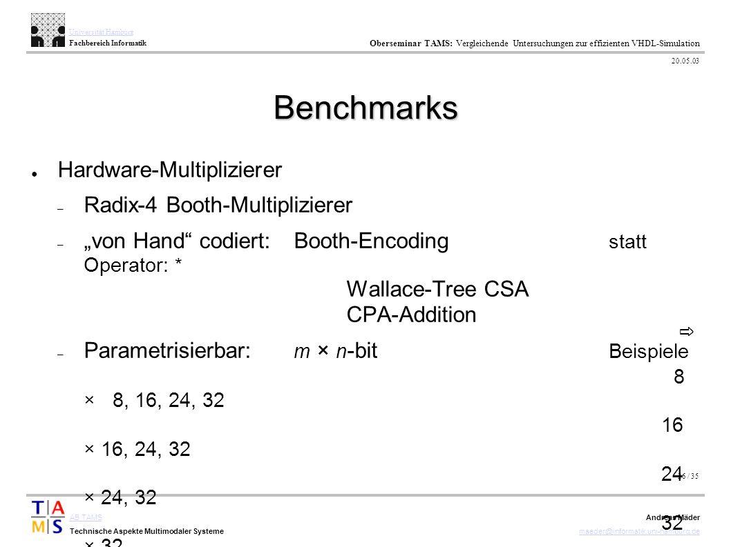 26 / 35 AB TAMS Technische Aspekte Multimodaler Systeme Universität Hamburg Fachbereich Informatik Oberseminar TAMS: Vergleichende Untersuchungen zur