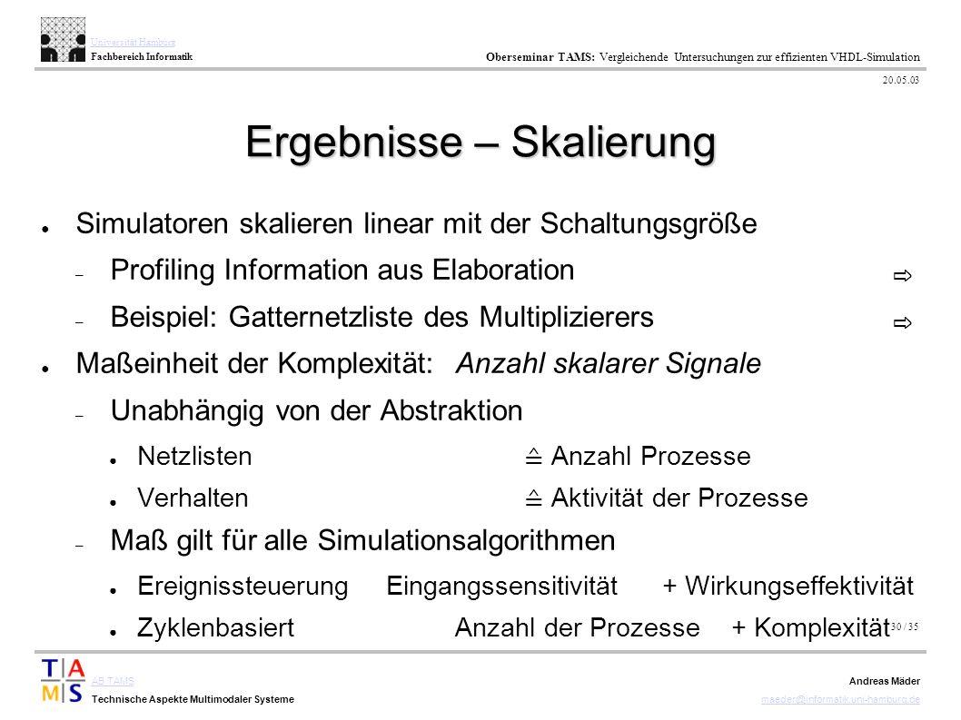 30 / 35 AB TAMS Technische Aspekte Multimodaler Systeme Universität Hamburg Fachbereich Informatik Oberseminar TAMS: Vergleichende Untersuchungen zur