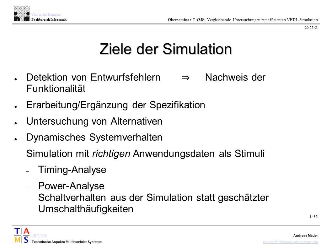 4 / 35 AB TAMS Technische Aspekte Multimodaler Systeme Universität Hamburg Fachbereich Informatik Oberseminar TAMS: Vergleichende Untersuchungen zur e