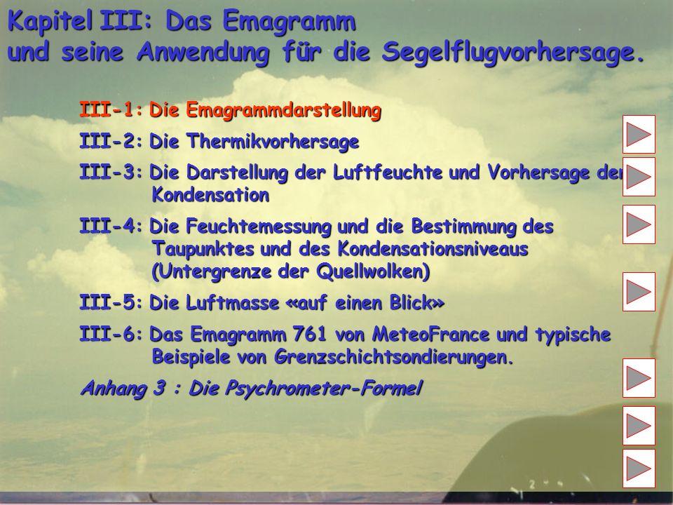 Kapitel III: Das Emagramm und seine Anwendung für die Segelflugvorhersage. III-1: Die Emagrammdarstellung III-2: Die Thermikvorhersage III-3: Die Dars
