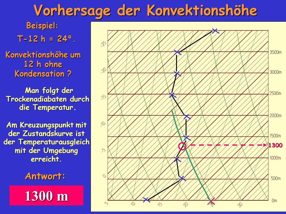 Vorhersage der Konvektionshöhe Beispiel: Konvektionshöhe um 12 h ohne Kondensation ? T-12 h = 24°. 1300 Am Kreuzungspunkt mit der Zustandskurve ist de