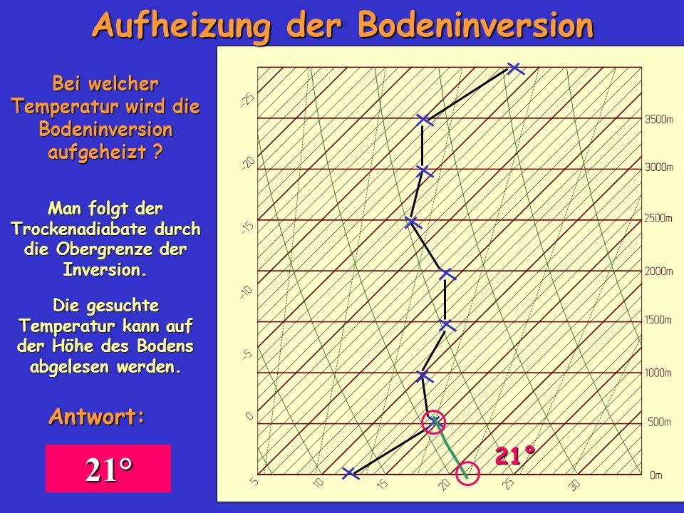 Bei welcher Temperatur wird die Bodeninversion aufgeheizt ? Man folgt der Trockenadiabate durch die Obergrenze der Inversion. 21° Die gesuchte Tempera