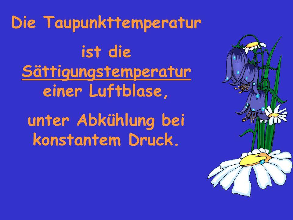 Die Taupunkttemperatur ist die Sättigungstemperatur einer Luftblase, unter Abkühlung bei konstantem Druck.