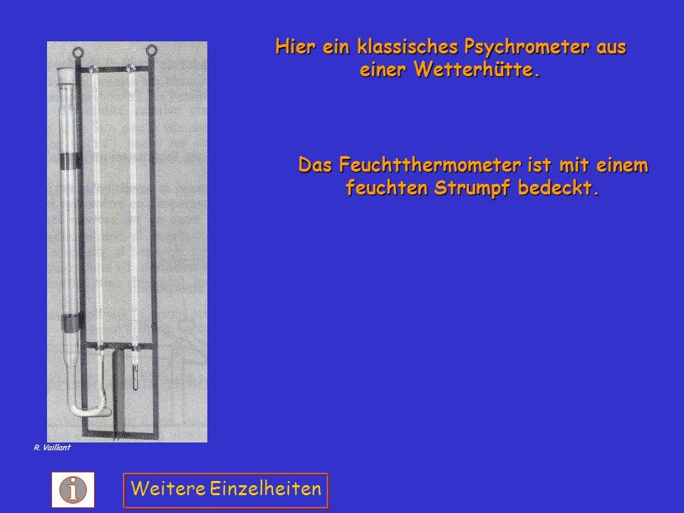 Das Feuchtthermometer ist mit einem feuchten Strumpf bedeckt. Hier ein klassisches Psychrometer aus einer Wetterhütte. Weitere Einzelheiten R. Vaillan
