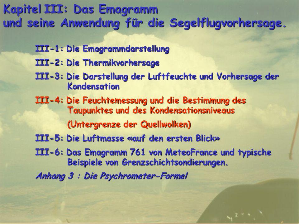Kapitel III: Das Emagramm und seine Anwendung für die Segelflugvorhersage.