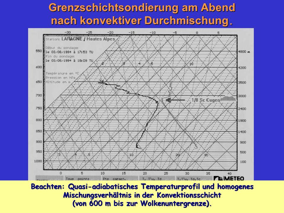Grenzschichtsondierung am Abend nach konvektiver Durchmischung. Beachten: Quasi-adiabatisches Temperaturprofil und homogenes Mischungsverhältnis in de