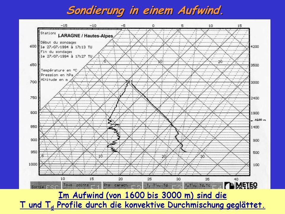 Sondierung in einem Aufwind. Im Aufwind (von 1600 bis 3000 m) sind die T und T d Profile durch die konvektive Durchmischung geglättet.